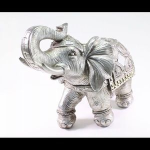 Feng Shui  Silver  Elephant Trunk Lucky Statue
